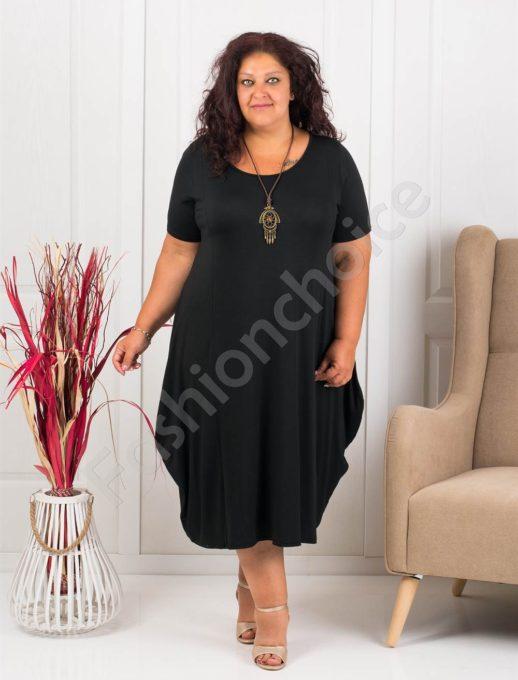 Разкроена макси рокля+подарък бижу-черно-код 619