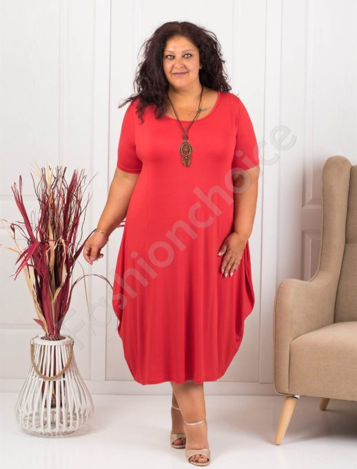 Разкроена макси рокля+подарък бижу-червено-код 619-4