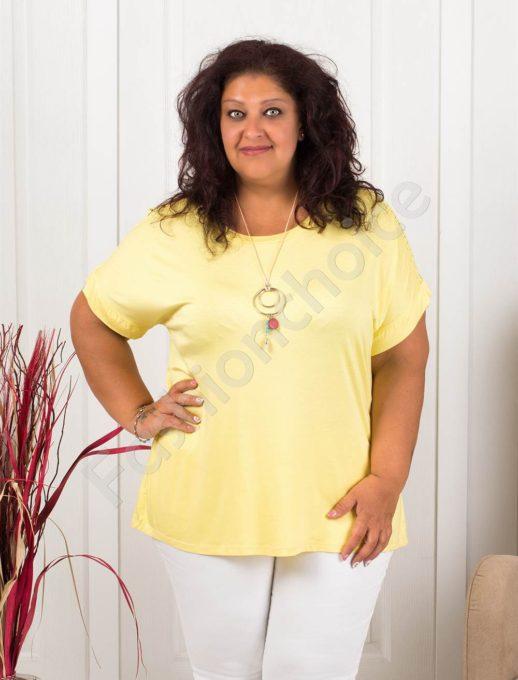 Нежна макси блуза с дантела+подарък бижу-жълто-код 1115-3