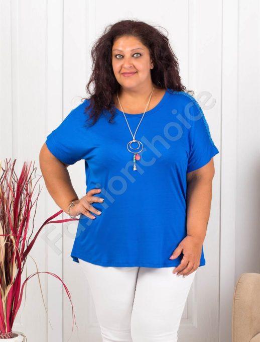 Нежна макси блуза с дантела+подарък бижу-кралско синьо-код 1115-1