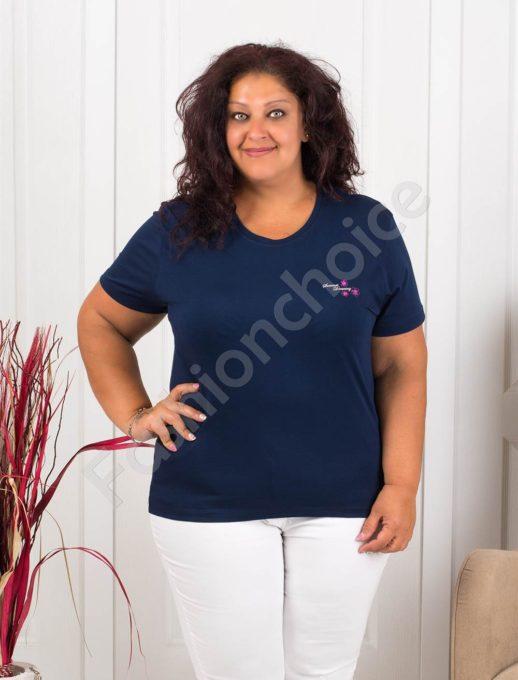 Дамска макси блузка с малка нежна щампа-тъмносиньо-код 145-3