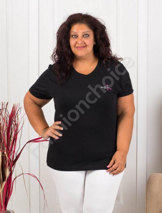 Дамска макси блузка с малка нежна щампа-черно-код 145