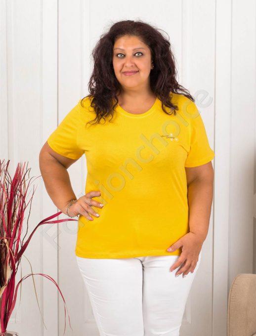 Дамска макси блузка с малка нежна щампа-жълто-код 145-1