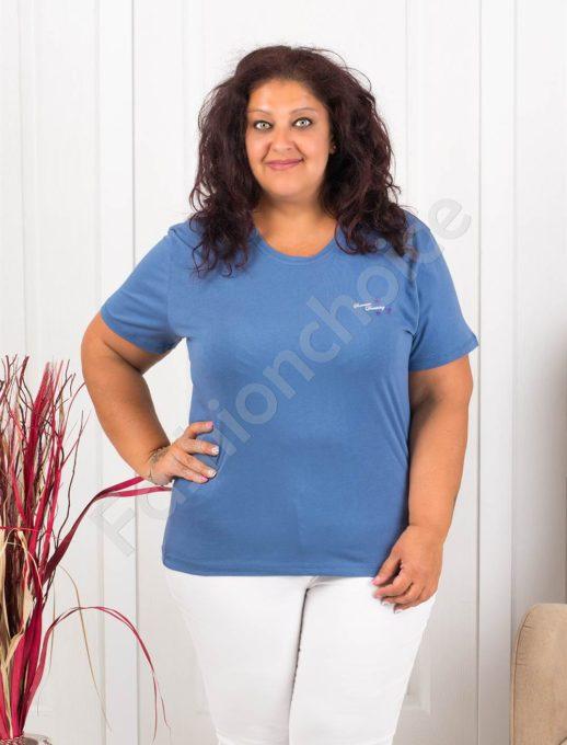 Дамска макси блузка с малка нежна щампа-цвят парламент-код 145-2