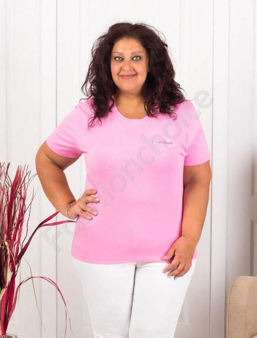 Дамска макси блузка с малка нежна щампа-розово-код 145-4