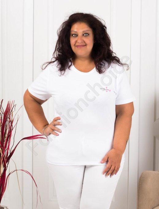 Дамска макси блузка с малка нежна щампа-бяло-код 145-5