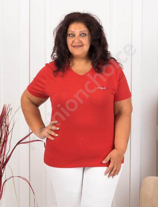 Дамска макси блузка с малка нежна щампа-червено-код 145-6