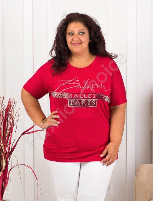 Дамска макси блузка с блестящ надпис PARIS-червено-код 856-3