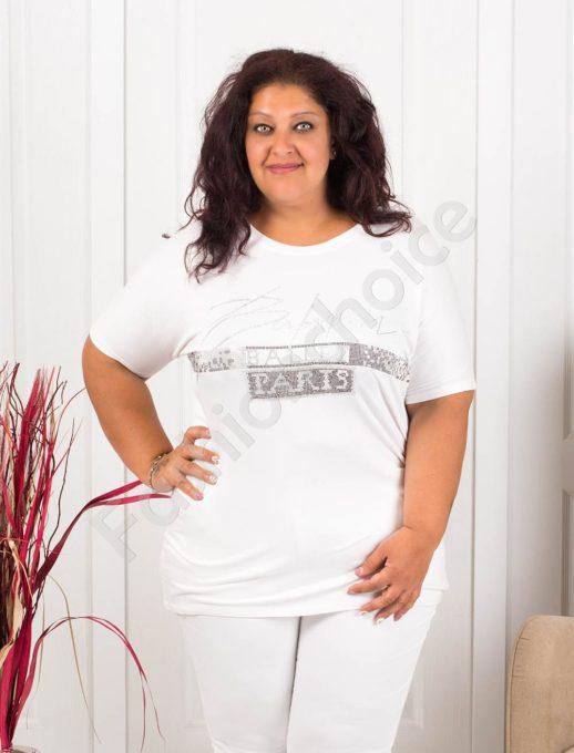 Дамска макси блузка с блестящ надпис PARIS-бяло-код 856-2
