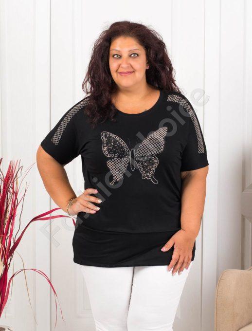 Дамска макси блузка с блестяща пеперуда в черно-код 838