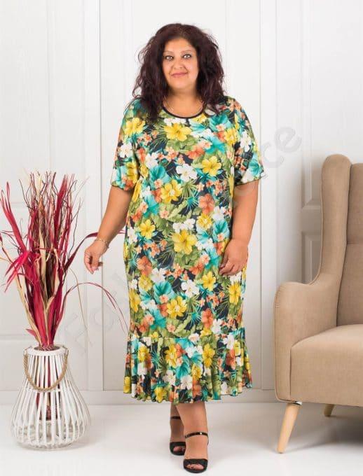 Прекрасна макси рокля в десен на жълти цветя-код 1089