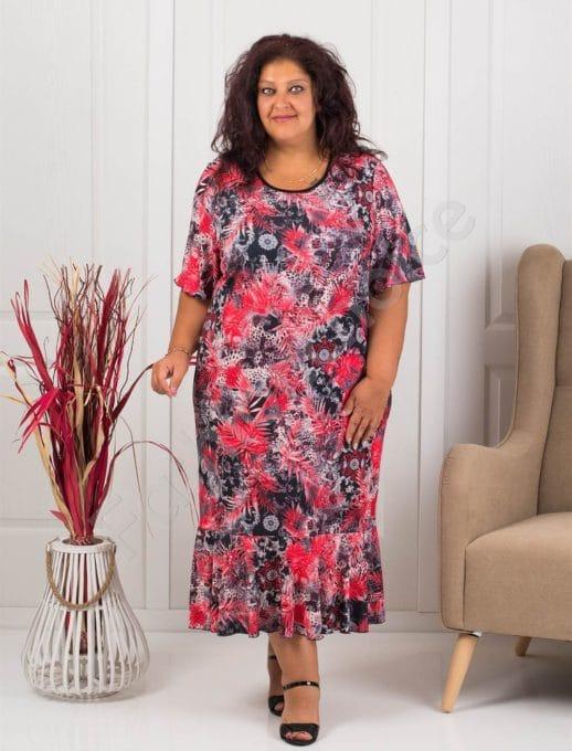 Прекрасна макси рокля в десен на червени цветя-код 1089-1
