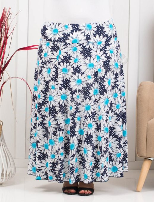 Разкроена макси цветна пола в десен на сини маргаритки-код 199-5