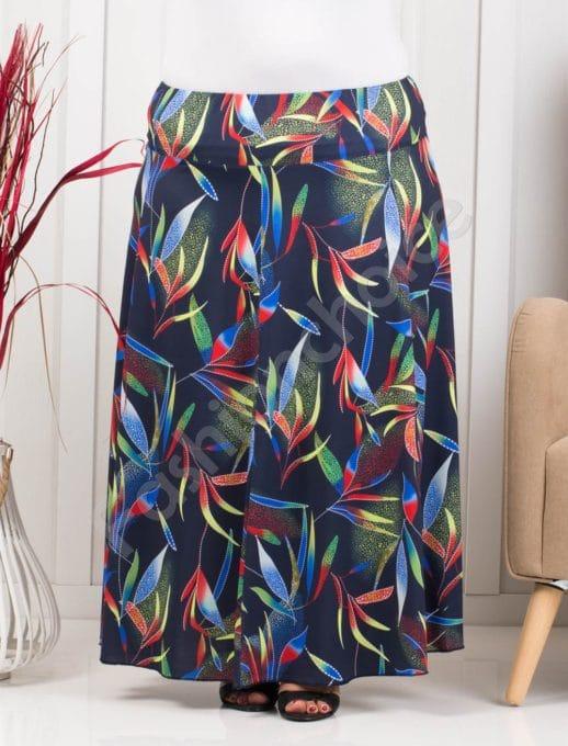 Разкроена макси цветна пола в тъмносин десен-код 199-7