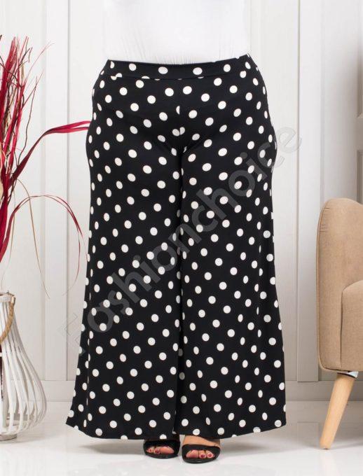 Дълъг макси пола-панталон в черно на бели точки-код 618-1