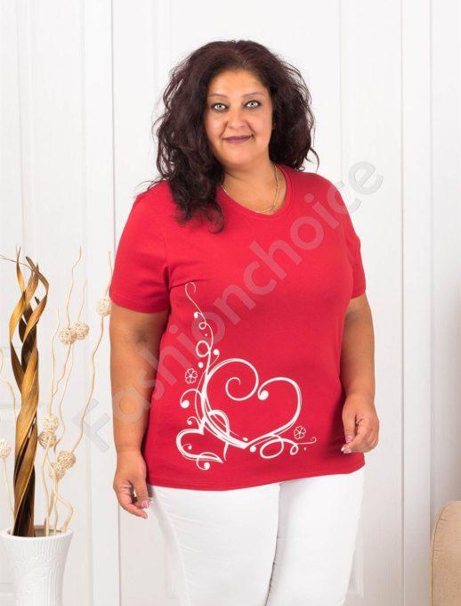 Дамска макси блузка с нежна щампа сърчица-червено-код 145-10