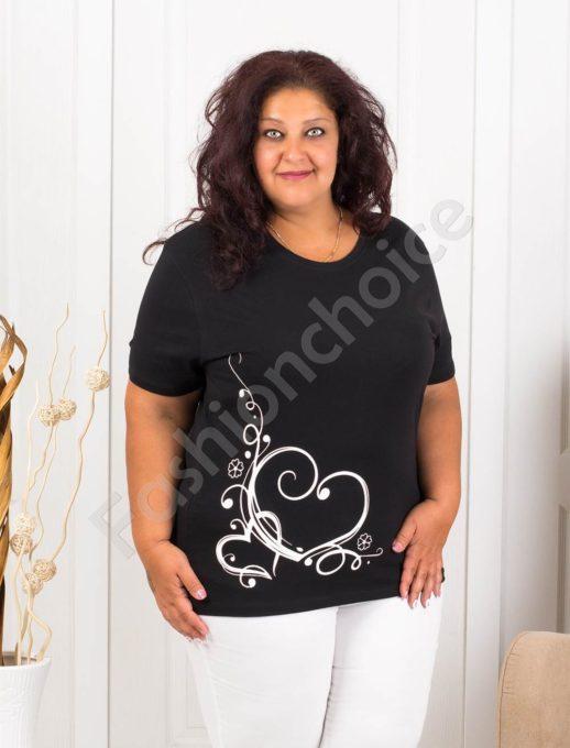 Дамска макси блузка с нежна щампа сърчица-черно-код 145-11