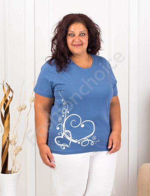 Дамска макси блузка с нежна щампа сърчица-парламент-код 145-14