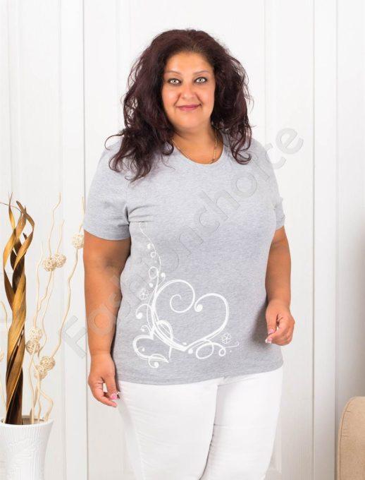 Дамска макси блузка с нежна щампа сърчица-сиво-код 145-13