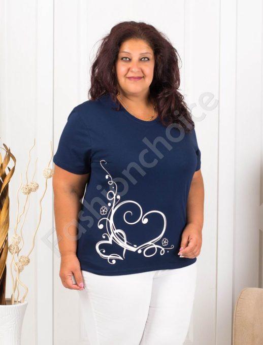 Дамска макси блузка с нежна щампа сърчица-тъмносиньо-код 145-12
