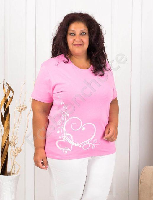 Дамска макси блузка с нежна щампа сърчица-розово-код 145-7