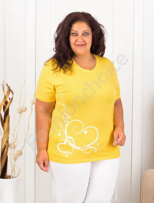 Дамска макси блузка с нежна щампа сърчица-жълто-код 145-9