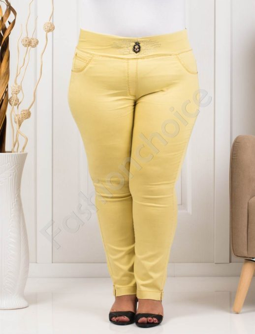 Летен дамски макси клин-панталон в жълт цвят-код 1448