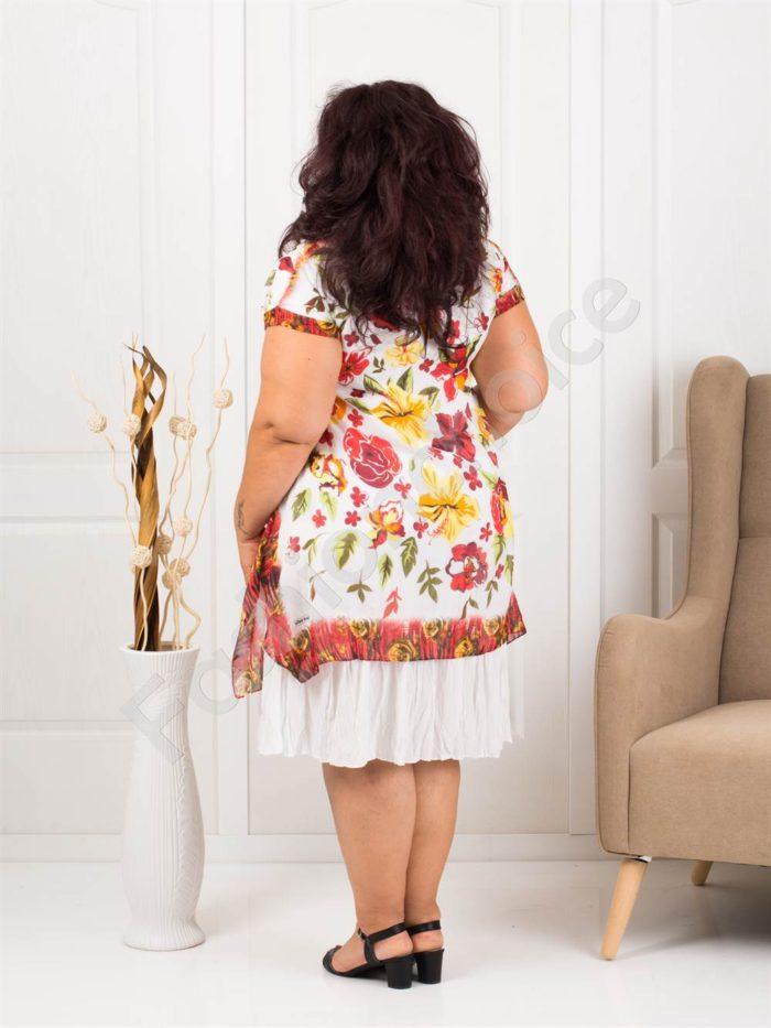 Лятна макси бяла рокля на красиви цветя-код 634