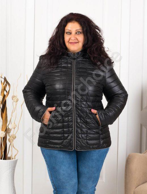 Красиво дамско макси яке с качулка в черно-код 5870