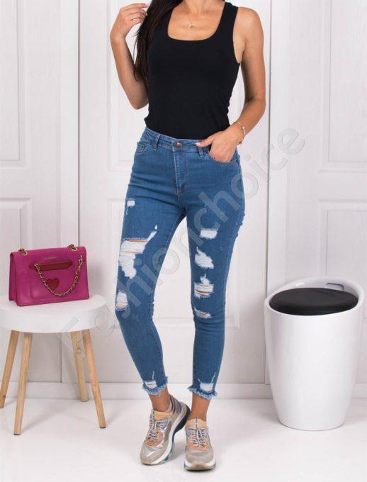 Дамски дънки Slim Fit с накъсан ефект-син деним-код 589