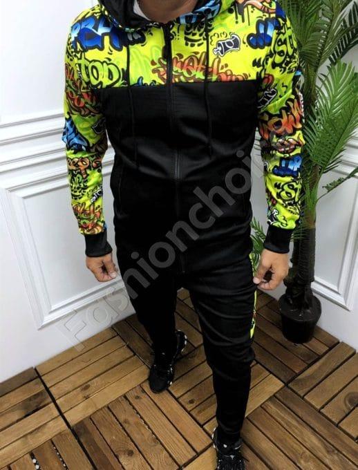 Мъжки спортен комплект с цветна неонова платка-код 261-1