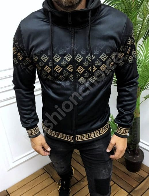 Мъжки суитшърт с качулка в черно с моден акцент-код 9062