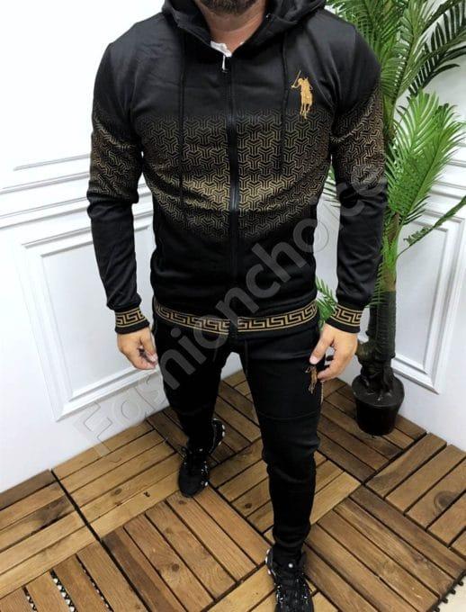 Мъжки спортен комплект в черно с моден акцент-код 337