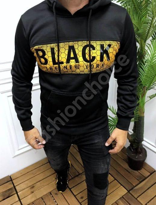 Мъжки суитшърт с качулка и надпис BLACK-код 9081