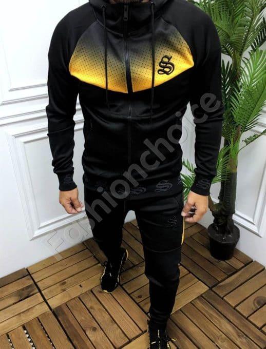 Мъжки спортен комплект в черно с жълта платка-код 359
