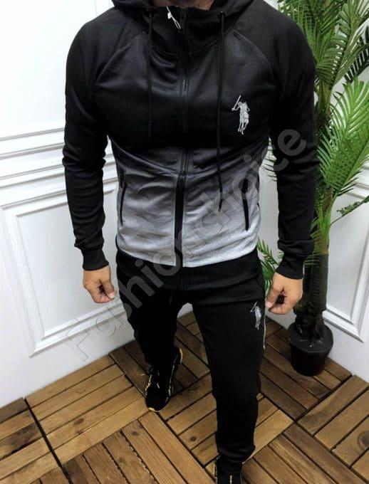 Мъжки спортен комплект в преливащ десен черно и сиво-код 361