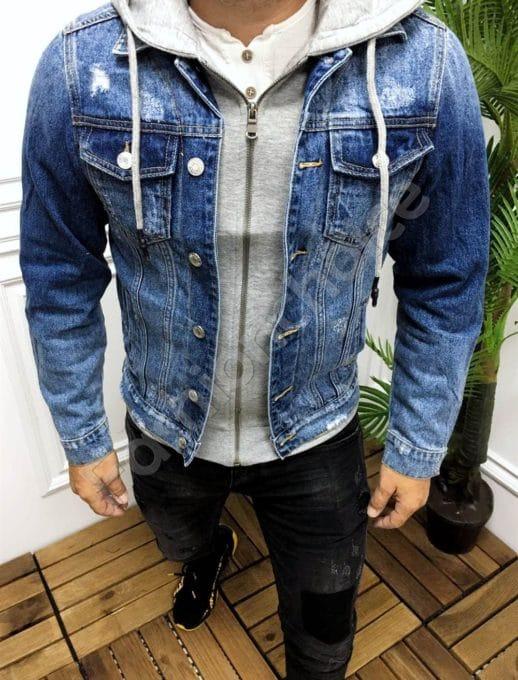 Мъжко дънково яке син деним с избелен и надран ефект-код 9106