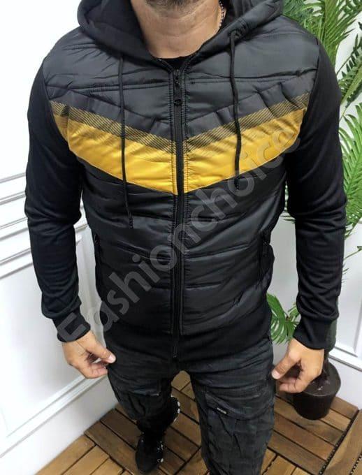 Мъжко спортно яке с качулка в черно и жълто-код 846-1