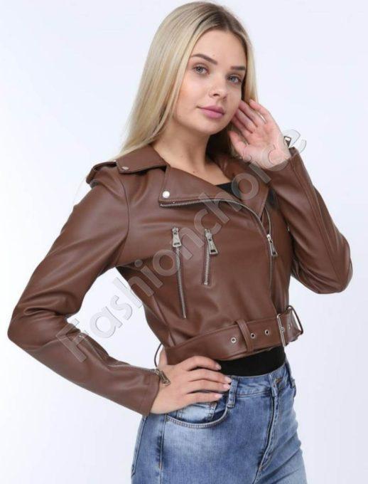 Секси кожено якенце в кафяв нюанс с метални ципове-код 1427-4