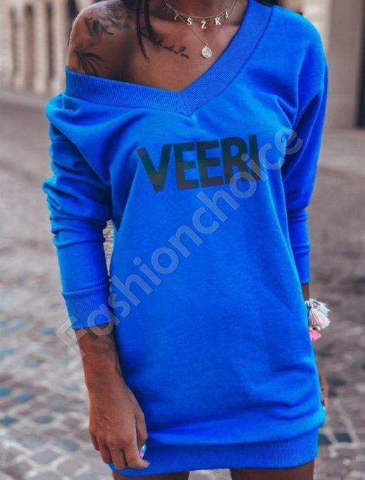 Къса рокля тип туника с надпис VEERI -кралско синьо-код 064-2