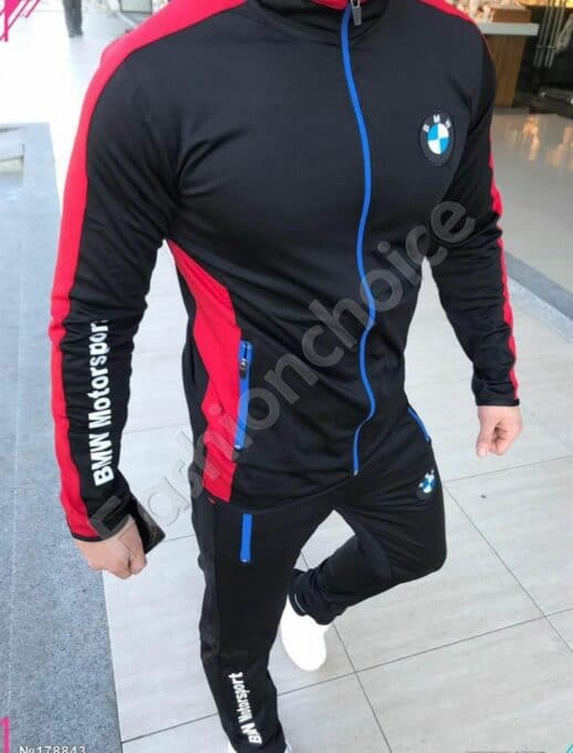 Мъжки спортен комплект в черно с модна бродерия-код 1439