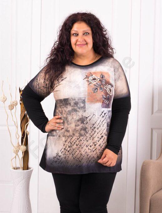 Дамска макси блуза с принт рози в преливащ десен-код 07