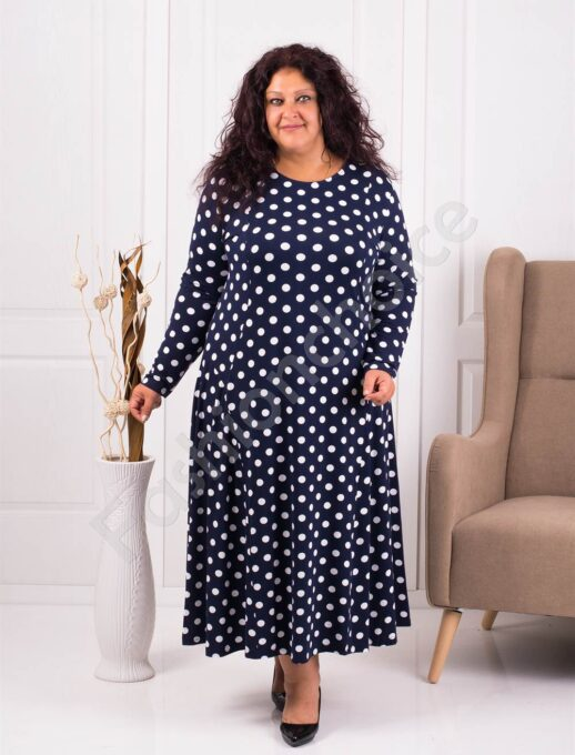 Разкроена плътна макси рокля в десен на бели точки-код 098-1