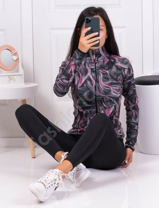 Дамски фитнес сет с моден десен-сиво с циклама-код 511
