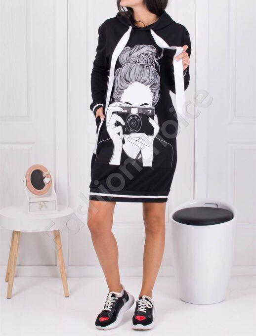Къса рокля-туника с щампа дама с фотоапарат-код 1447