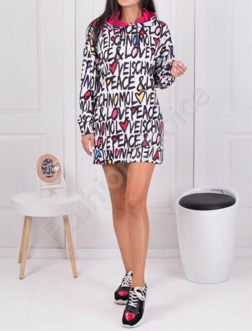 Къса рокля-туника с качулка PEACE & LOVE-код 1449