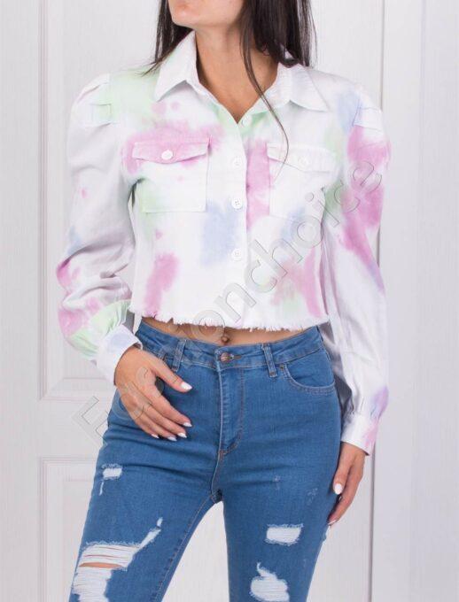 Късо дамско якенце в преливащи цветове-код 726