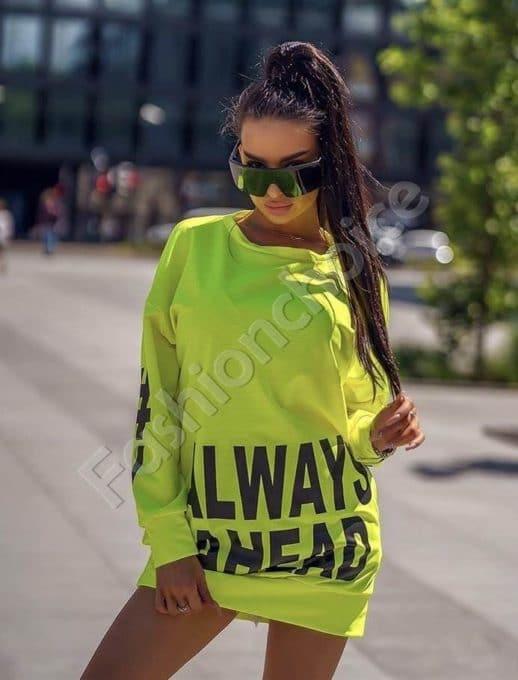Къса рокля тип туника с надпис ALWAYS AHEAD- зелен неон-код 001-2