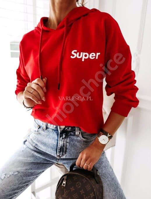 Дамска блуза тип суитшърт с качулка и надпис SUPER-червено-код 002-2