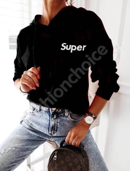 Дамска блуза тип суитшърт с качулка и надпис SUPER-черно-код 002